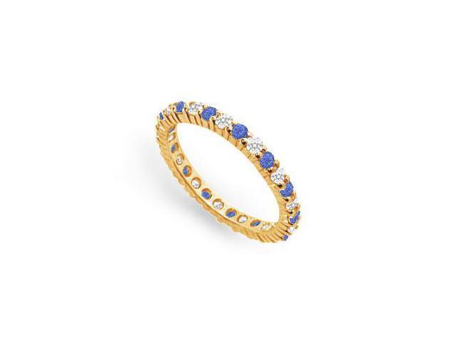 Diamond and Blue Sapphire Eternity Band  14K Yellow Gold  1.00 CT TGW