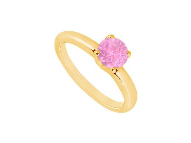 Pink Sapphire Ring  14K Yellow Gold - 1.00 CT TGW