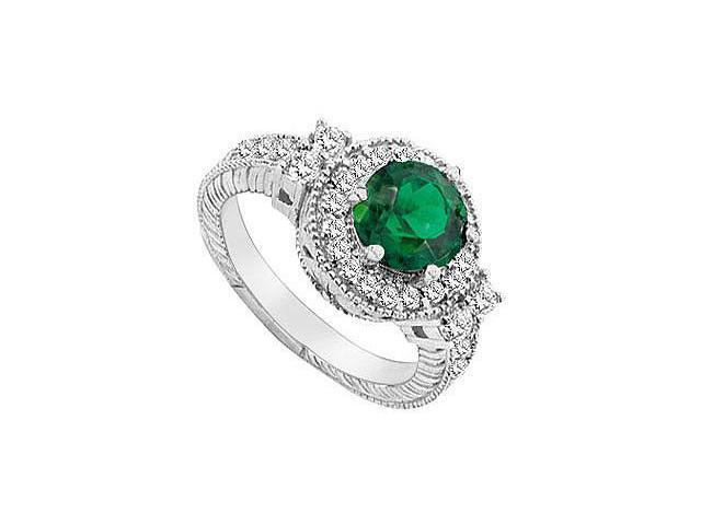 Frosted Emerald and Cubic Zirconia Ring 10K White Gold 2.75 Carat Total Gem Weight
