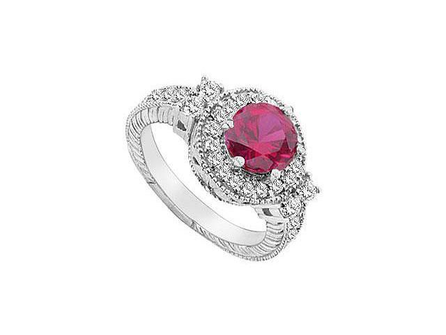 GF Bangkok Ruby and Cubic Zirconia Ring 10K White Gold  2.75 Carat Total Gem Weight