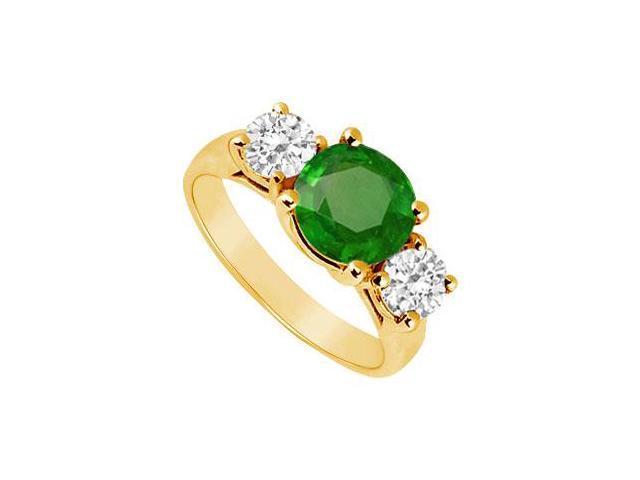 Three Stone Emerald and Diamond Ring  14K Yellow Gold - 2.50 CT TGW