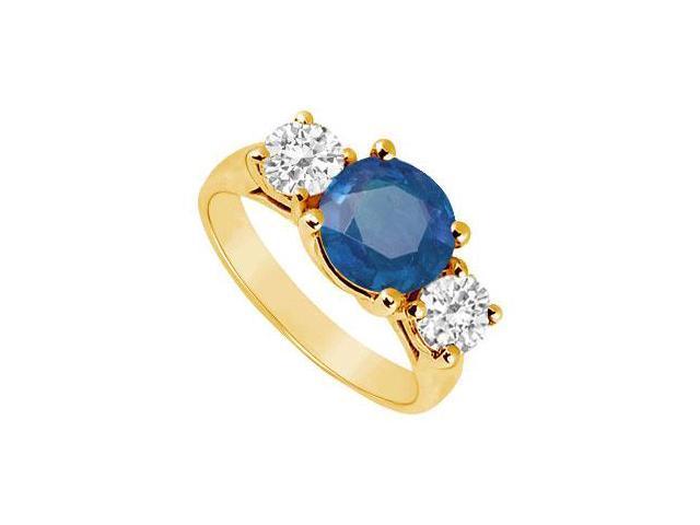 Three Stone Sapphire and Diamond Ring  14K Yellow Gold - 3.00 CT TGW