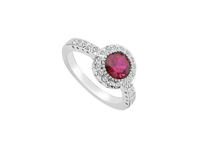 GF Bangkok Ruby and Cubic Zirconia Ring 10K White Gold  2.50 Carat Total Gem Weight