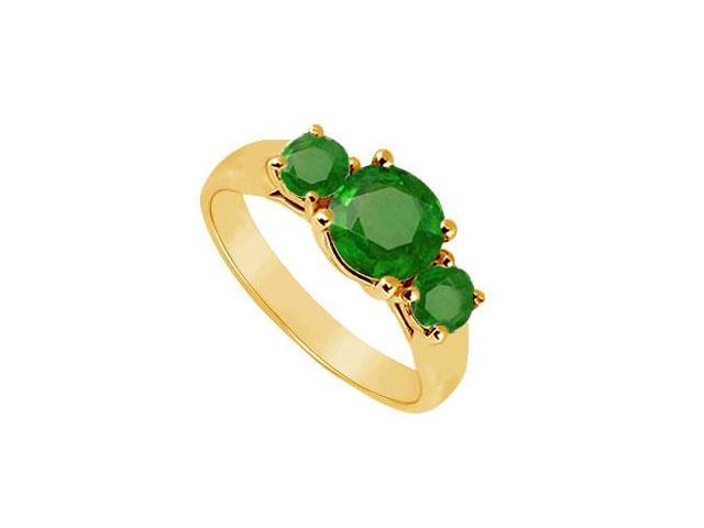 Three Stone Emerald Ring  14K Yellow Gold - 0.75 CT TGW