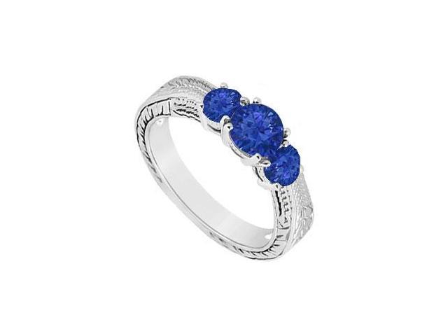 Sapphire Three Stone Ring  14K White Gold - 0.33 CT TGW