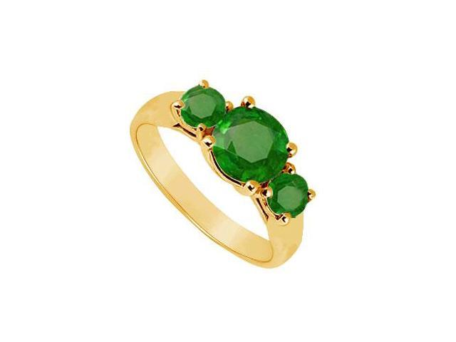 Three Stone Emerald Ring  14K Yellow Gold - 1.00 CT TGW