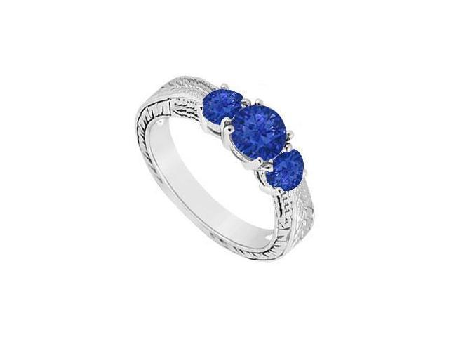 Sapphire Three Stone Ring  14K White Gold - 0.50 CT TGW