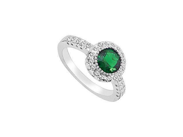 Frosted Emerald and Cubic Zirconia Ring 10K White Gold 2.50 Carat Total Gem Weight