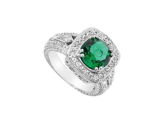 Frosted Emerald and Cubic Zirconia Ring 10K White Gold 4.00 Carat Total Gem Weight