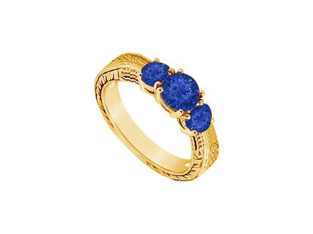 Sapphire Three Stone Ring  14K Yellow Gold - 0.50 CT TGW