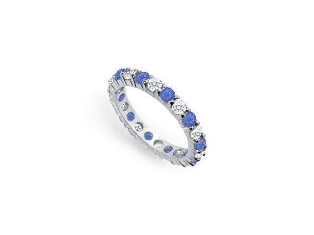 Diamond and Blue Sapphire Eternity Band  Platinum  2.00 CT TGW
