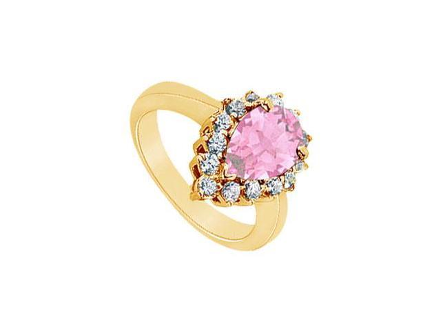 Pink Sapphire and Diamond Ring  14K Yellow Gold - 1.50 CT TGW