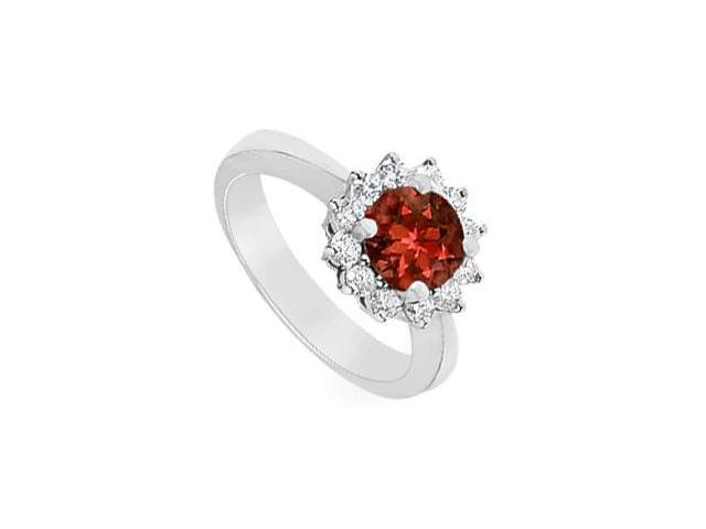 Garnet and Diamond Ring  14K White Gold - 1.50 CT TGW