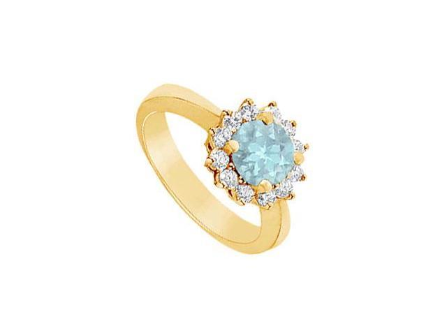 Aquamarine and Diamond Ring  14K Yellow Gold - 1.50 CT TGW