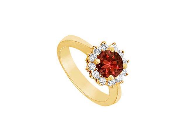 Garnet and Diamond Ring  14K Yellow Gold - 1.50 CT TGW