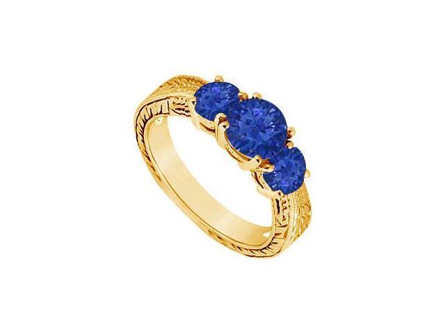 Sapphire Three Stone Ring  14K Yellow Gold - 1.00 CT TGW