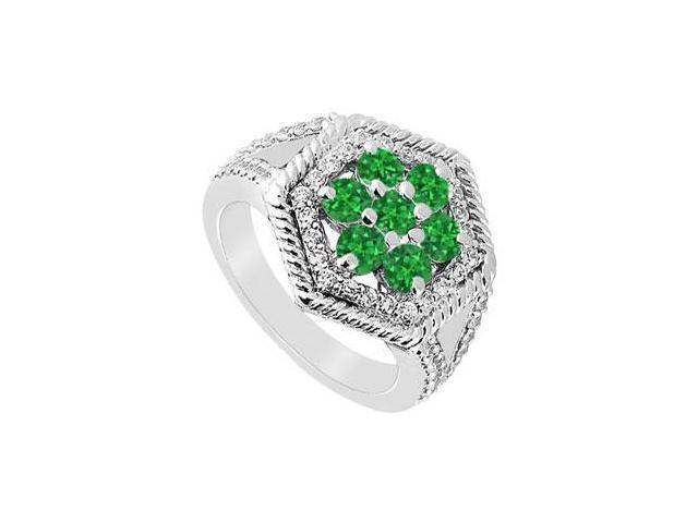 Emerald and Diamond Flower Ring  14K White Gold - 1.50 CT TGW
