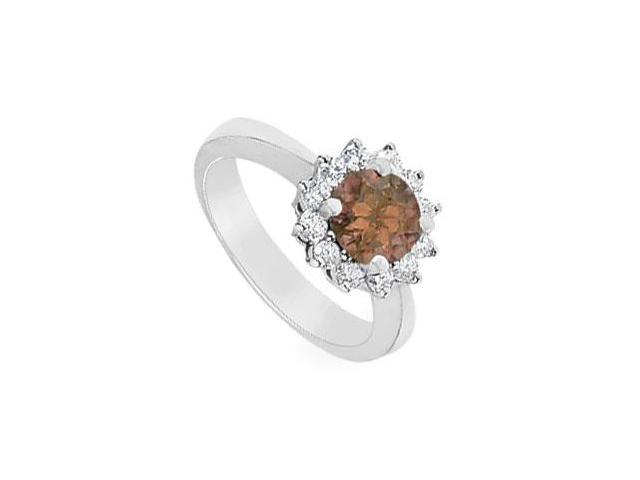 Smoky Topaz and Diamond Ring  14K White Gold - 1.50 CT TGW