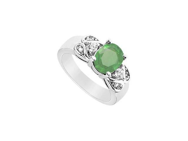 Emerald and Diamond Ring  14K White Gold - 2.25 CT TGW