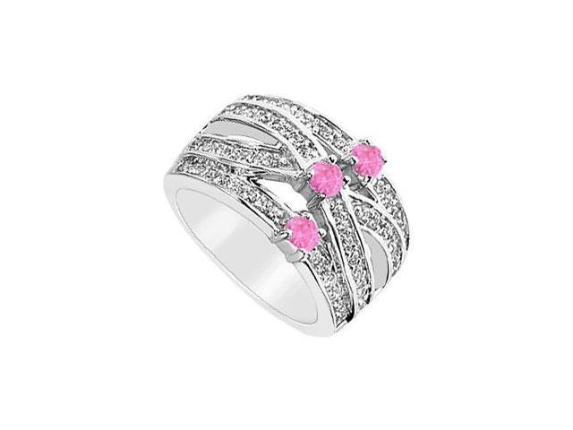Diamond and Pink Sapphire Ring  14K White Gold - 1.00 CT TGW