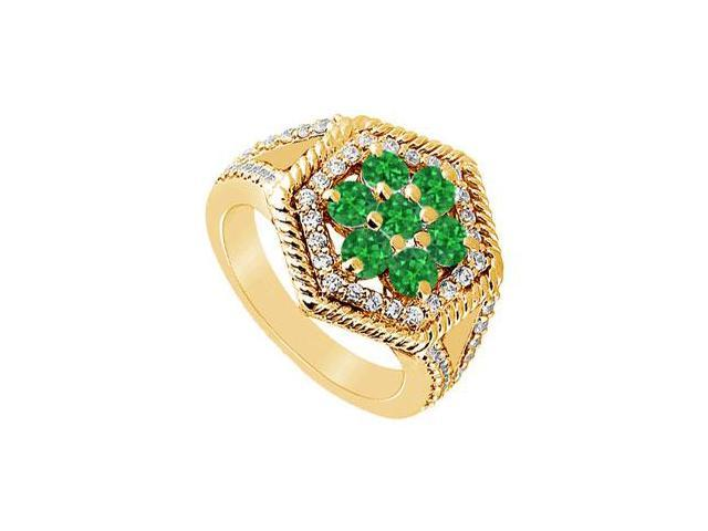 Emerald and Diamond Flower Ring  14K Yellow Gold - 1.50 CT TGW