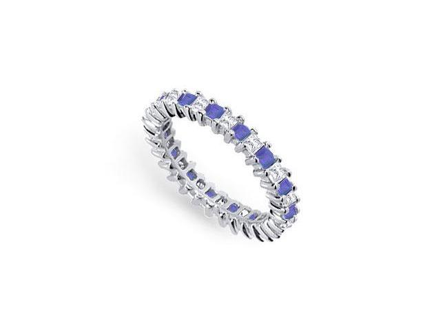 Diamond and Blue Sapphire Eternity Band  Platinum  2.00 CT TGW