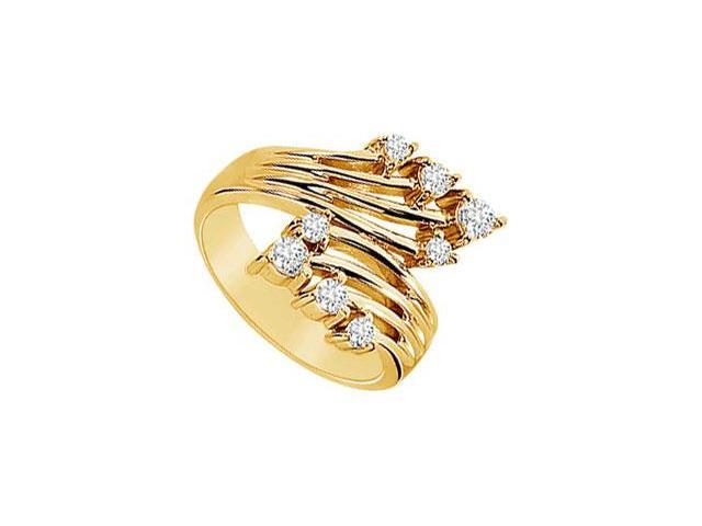 Diamond Crossover Ring  14K Yellow Gold - 0.50 CT Diamonds