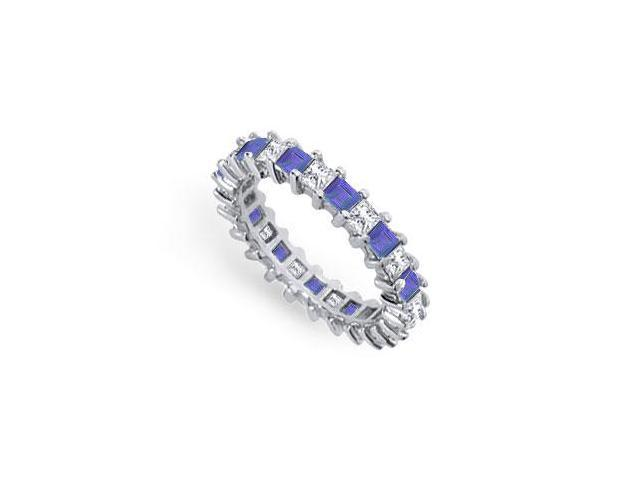 Diamond and Blue Sapphire Eternity Band  Platinum  3.00 CT TGW