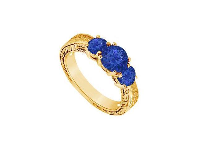 Sapphire Three Stone Ring  14K Yellow Gold - 0.75 CT TGW