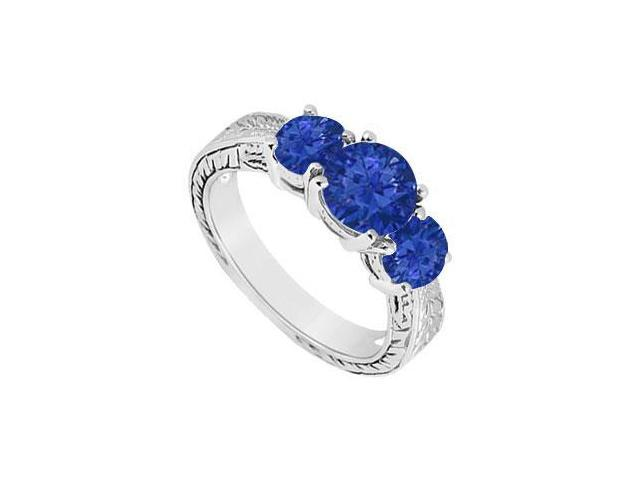 Sapphire Three Stone Ring  14K White Gold - 1.25 CT TGW