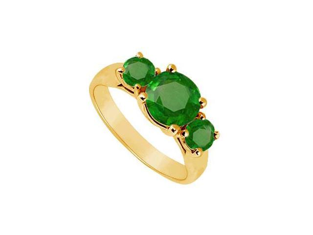 Three Stone Emerald Ring  14K Yellow Gold - 1.75 CT TGW
