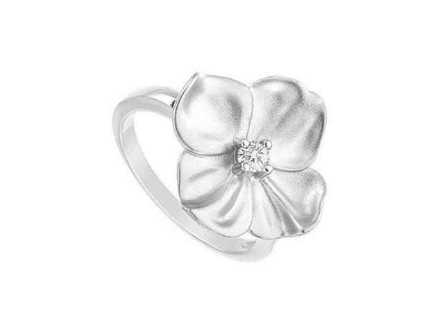 Diamond Flower Ring  14K White Gold - 0.10 CT Diamond