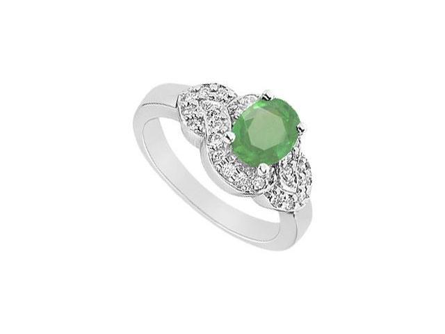 Emerald and Diamond Ring  14K White Gold - 1.75 CT TGW