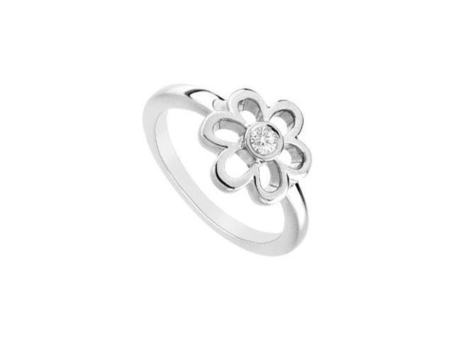 Cubic Zerconia Flower Ring  .925 Sterling Silver - 0.10 CT TGW