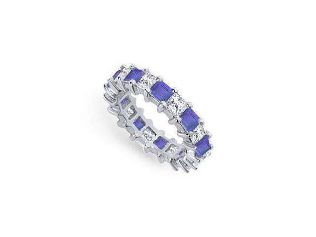 Diamond and Blue Sapphire Eternity Band  Platinum  4.00 CT TGW