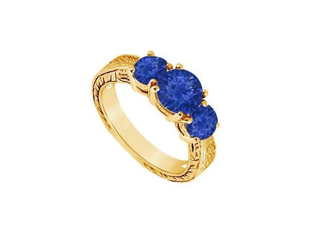 Sapphire Three Stone Ring  14K Yellow Gold - 1.25 CT TGW