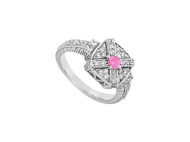 Pink Sapphire and Diamond Ring  14K White Gold - 0.75 CT TGW