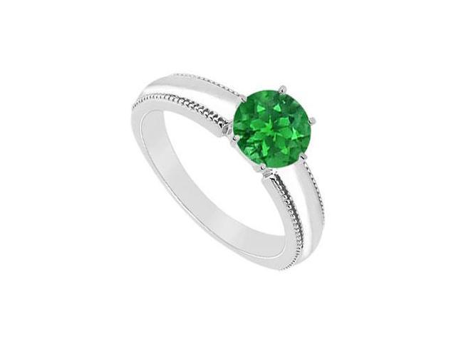 Emerald Ring  14K White Gold - 1.00 CT TGW