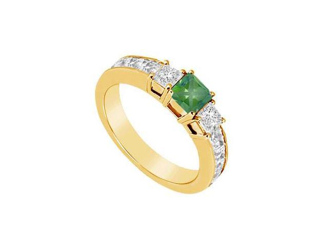 Emerald and Diamond Ring  14K Yellow Gold - 1.00 CT TGW