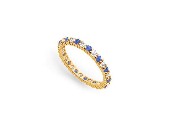 Diamond and Blue Sapphire Eternity Band  18K Yellow Gold  1.00 CT TGW