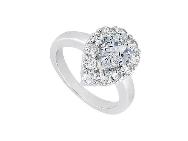 CZ Pear Shape Fashion Ring 2.50 Carat Total Gem Weight in 10K White Gold