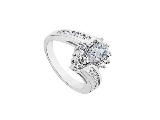 Fashion Pear Shape CZ Ring in 10K White Gold 2.25 Carat Total Gem Weight