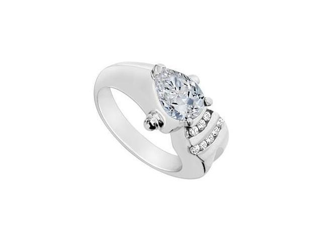 Pear Shape 2 Carat Center Cubic Zirconia Ring in 10K White Gold 2.25 Carat Total Gem Weight