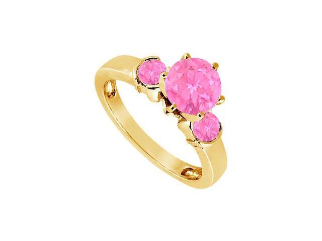 Created Pink Sapphire Three-Stone Ring in 18K Yellow Gold Vermeil 1.50 ct. t.w
