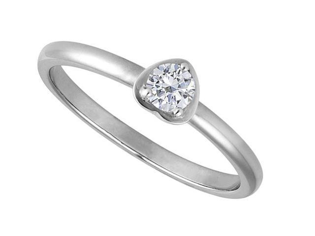 1 Carat Round Cubic Zirconia in 14K White Gold Heart Design Ring