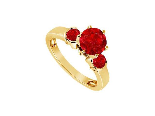 Created Ruby Three-Stone Ring in 18K Yellow Gold Vermeil  1.50 ct. t.w.