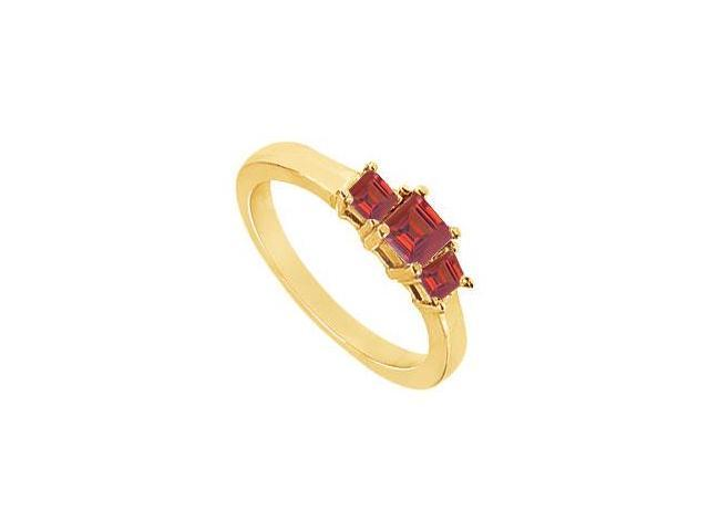 Created Ruby Three-Stone Ring in 18K Yellow Gold Vermeil 2.00 ct. t.w.