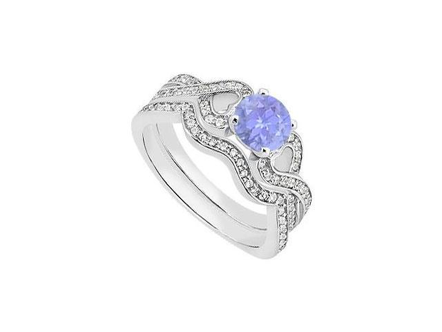 Tanzanite Heart Engagement Ring in 14K White Gold with Diamond Wedding Rings of 1.25 Carat TGW