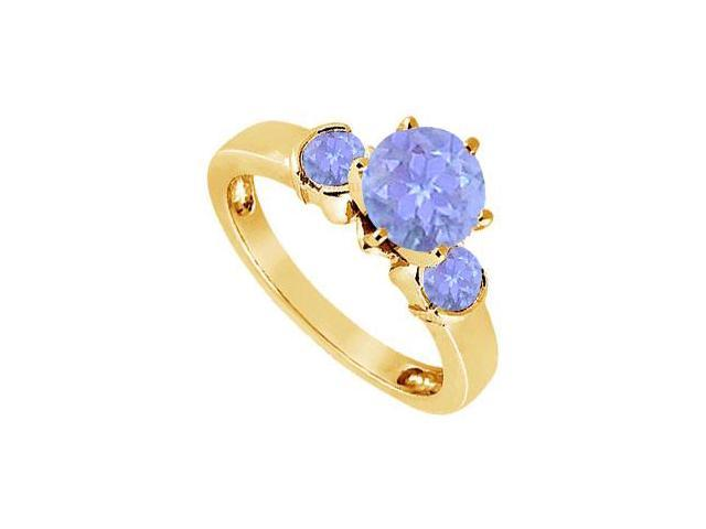 Created Tanzanite Three-Stone Ring in 18K Yellow Gold Vermeil 1.50 ct. t.w.