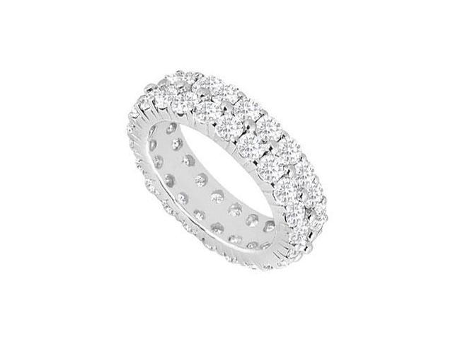Two Row Eternity Wedding Bands Three Carat CZ Eternity Band on Sterling Silver 925